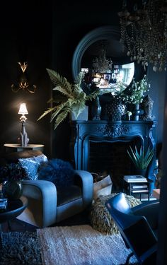 Blue living room, indoor plants, blue walls, decorating with blue, hollywood reg…