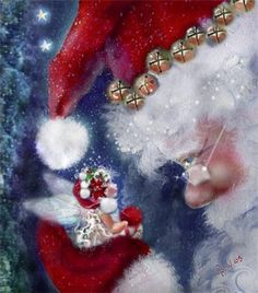 A wee winged one receives Christmas Eve instruction from Santa... Spread the magic of Christmas! <> (fairy merry Christmas)