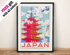 JAPANESE TEMPLE POSTER: Vintage Pink Japan by ThePrintArcade