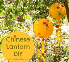 Chinese Lantern DIY with paper flowers and paillette streamers.