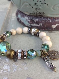 Beaded Stacking Stretch Bracelet Cream by CountryChicCharms More