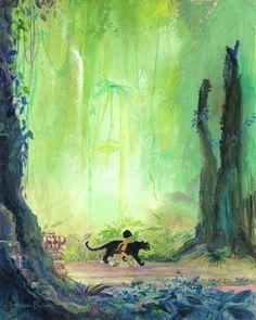 """Mowgli and Bagheera"" by Harrison Ellenshaw   Disney Fine Art   Disney's The Jungle Book"