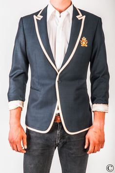 Signature Club Blazer with Beige Stripe by Norwegian Couture.