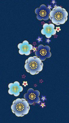 Japanese Art Prints, Japanese Textiles, Japanese Patterns, Japanese Fabric, Japanese Design, Flower Background Wallpaper, Flower Backgrounds, Wallpaper Backgrounds, Cherry Blossom Art