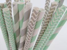 25 Mint and Grey Stripe and Chevron Paper Straw Mix - ships less than 24 hours on Etsy, $4.06