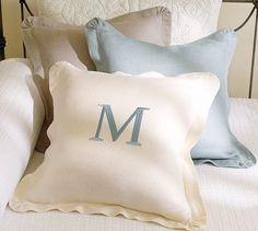 Chunky Linen Ruffle Pillow Cover #potterybarn