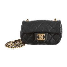 Chanel Black Mini Flap Bag cc logo gold shoulder crossbody chain small handbag #CHANEL #ShoulderBag