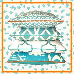Caribbean #turquoise stack from our Palm Beach Collection! #interiordesign #interiordesigner #homedecor #textiles #throwpillows #coastaldecor #coastalliving #coastalstyle #palmbeachstyle #chinoiserie #coastalhomepillows #luxuryhomedecor