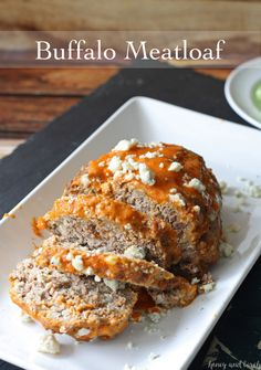 Fans of buffalo wings will love this dinner recipe! Buffalo meatloaf, stuffed with blue cheese and glazed with buffalo sauce.