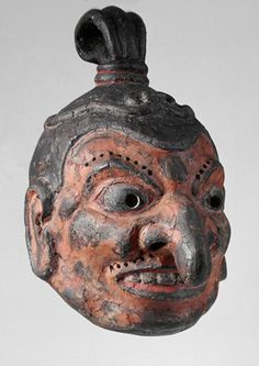 japaneseaesthetics:  Mask for Gigaku masked dance. 9th century, Japan. wood (paulownia), dry lacquer, paint. Weltmuseum Wien Museum, Austria Gigaku was a dance drama with central Asian influences which was introduced to Japan in the 8th century from China via Korea. While later masks only cover the face, Gigaku-masks cover the whole head including the ears. Gigaku dances were usually performed as part of rituals at Buddhist temples. Besides the expressive facial features of this mask, its…