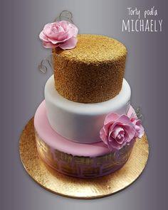 Wedding cake by Michaela Hybska Wedding Cake Roses, Themed Wedding Cakes, Beautiful Wedding Cakes, Gorgeous Cakes, Elegant Birthday Cakes, Birthday Cupcakes, Shoe Cupcakes, Here Comes The Bride, Cakes And More
