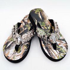 a6ee27eecc0e Camouflage Spiritual Cross Bling Flip Flops