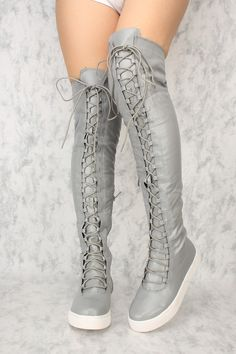b607dd0fd7f Sexy Grey Lace Up Round Close Toe Flat Thigh High Boots Faux Leather