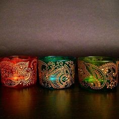 Hand painted stained glass votive holders