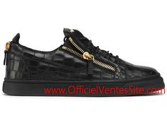 Giuseppe Zanotti Design Frankie Lace Up Low Top Sneakers Black Crocodile  Embossed Homme Rm5000001 fd8b5bf5ed0e
