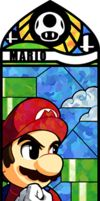 And now a bit brighter than his brother, it's Mario!  Even though he casts strong shadows on himself, Mario's above ground compared to Luigi being below ground.  The war pipes in the distance give this stained glass mosaic a feeling of depth.  Mario looks cool, calm, and collected and ready to fight in Smash.