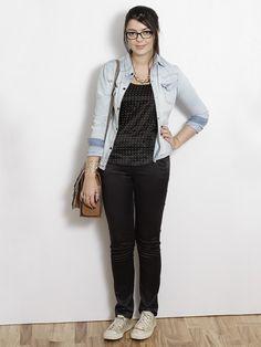 Geek. camisa jeans + preto