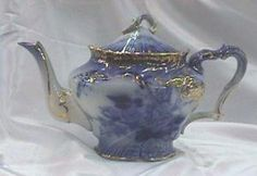 Flow Blue Teapot. Click on the image for more information. China Pot, Blue China, Teapots And Cups, Teacups, Green And Purple, Blue And White, Tea Kettles, Tea Art, My Cup Of Tea