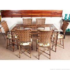 Conjunto De Mesa Com Tampo De Vidro Névoa E 6 Cadeiras Ibis Amêndoa/Vidro  Incolor