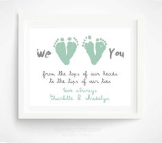 Mothers Day Gift from Twins, Children - Mint Personalized Gift for Grandma - We Love You Baby Footprint Art - Gift for New Mom, Grandmother. $35.00, via Etsy.@Christy Wilkerson