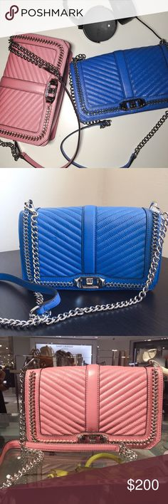 Rebecca Minkoff LOVE crossbody in denim blue. This is a brand new bag with price tag. The chain and quilted design make it really trendy! Rebecca Minkoff Bags Crossbody Bags