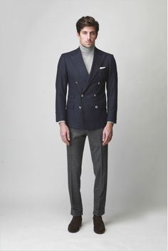 OVADIA & SONS $1,650 double breasted navy blue FW12 sport coat blazer 38/48 NEW