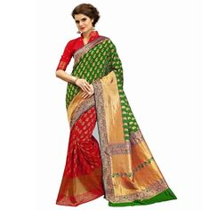 Multicolor woven banarasi silk saree with blouse - Shree Impex - 2361079 Bollywood Designer Sarees, Silk Sarees, Sari, Blouse, Fashion, Saree, Moda, La Mode, Blouses