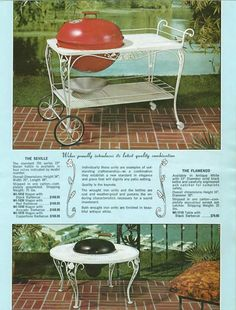 Weber Seville cart back from powder Q-talk Sectional Patio Furniture, Lawn Furniture, Golden Girls House, Vintage Outdoor Furniture, Grill Island, Lavender Cottage, Picnic Set, Cottage Exterior, Vintage Interiors