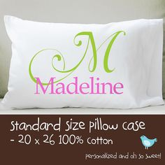 printed pillow cases. Monogram Pillowcase \u2022 Girls Personalized Pillow Case Printed For Birthday Gift, Graduation Bridesmaid Gift | Monograms, Cases E