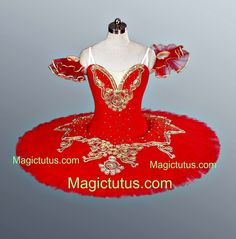 Classical Ballet Tutu Professional Competition Red & Gold Age 10-Adult IN STOCK | eBay