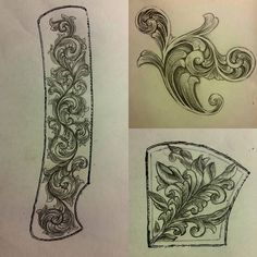 Having a great week and learning so much more about engraving. Have here a couple of my layouts for two knife projects I have and going to give it my all and one of my practice scrolls. #art #arte #artist #artwork #sketch #drawing #scroll #engraving #knives #knife #knifeaddict #knifework #passion #inspiration #motivation #determination #ambition #hardwork #commitment #instagram by andrewleeadams1