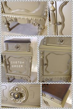 Custom painted depression night stand by Vintage Charm and Restoration www.facebook.com/VintageCharm