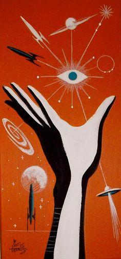 EL GATO GOMEZ PAINTING RETRO 50S 1960S SPACE SCI-FI SCIENCE ILLUSTRATION ROCKET  #Modernism