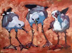 Fancy Gulls, painting by artist Rick Nilson