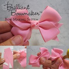 Hair bow tutorials (pin to view) @ DIY Home Ideas.i LOVE making bows!Hair bow tutorials (pin to view) @ DIY Home Ideas Walters Walters Hebert I am sure you've seen thsi but just in case you haven't*I have so much ribbon I could use to make bows for my nie Making Hair Bows, Diy Hair Bows, Diy Bow, Bow Making, Ribbon Crafts, Ribbon Bows, Ribbons, Baby Bows, Baby Headbands