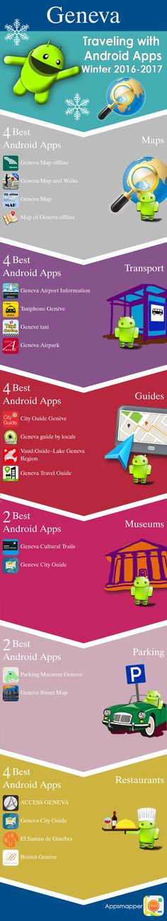 Geneva Android apps: Travel Guides, Maps, Transportation, Biking, Museums, Parking, Sport and apps for Students.
