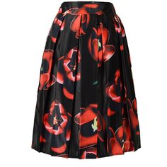 Choies Black Elastic Waist Midi Skirt With Red Floral Print ($17) ❤ liked on Polyvore featuring skirts, choies, black, floral print midi skirt, red skirt, floral midi skirt, floral knee length skirt and mid-calf skirt