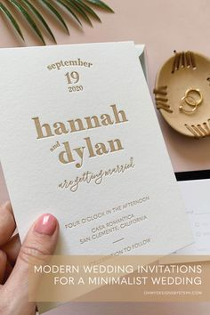 Modern Invitation with letterpress printing for a minimalist wedding with simple boho vibes ✨