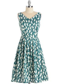 Perpetual Charm Dress in Cats by People Tree - International Designer, Print with Animals, Casual, Cats, A-line, Sleeveless, Fall, Woven, Better, V Neck, Cotton, White, Green, Critters, Mid-length