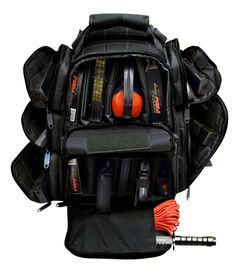 """This Range Backpack is strong enough to carry up to 9 pistols around 36 mag clips.It is made of Heavy duty polyester 1200 D, it has two main padded zippered compartment (11"""" x 8"""" x 9"""" and 9"""" x 9.5"""" x 9"""") with removable dividers where you can put your hand guns individually separated one from another. It also has three zippered side pockets each side (6 in total). One 6.5"""" x 6"""" x 2"""" pocket with 6 mag pouches and two 6"""" x 5"""" x 2"""" pockets with 6 elastic mag holders."""