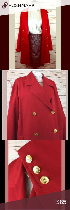 Vintage Glam Red LINDA ALLEN ELLEN TRACY Coat This Wonderfully Wool Coat is sure too keep you warm & stylish this winter. Beautiful Gold Button detail and a passionate red color. Linda Allard Ellen Tracy  Jackets & Coats Trench Coats