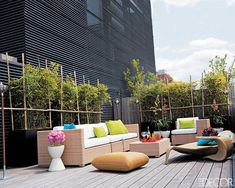 Decorator Milly de Cabrol brought tropical hues and natural touches to Brazilian fashion designer Carlos Miele's New York City terrace.