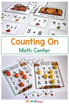 Use the counting on math centers in kindergarten and first grade to help children use addition efficiently. Kids will have fun practicing addition with these fun activities and games as the practice counting on from a given number to add. First Grade Activities, 1st Grade Math, Fun Activities, Addition Games, Addition And Subtraction, Math Stations, Math Centers, Mental Math Strategies, Math Numbers