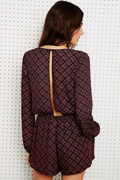 Lucca Long Sleeve Playsuit in Tile Print - Urban Outfitters