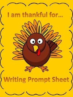 FREEBIE! Here is an adorable Thanksgiving I am thankful for...writing prompt sheet. This can be used as a cute way to display writing in your room or on your bulletin board or just as a fun sheet to use at writing time.