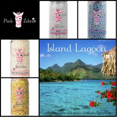 """Island Lagoon"" 1/4 Lemon Sage, 1/4 Night Blooming Jasmine, 1/4 Relax, 1/4 Mountain Spring www.PinkZebraHome.com/KatieSprinkles #PinkZebra #Sprinkles #Recipes"