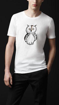 Burberry Prorsum Autumn Winter 2012 Owl Graphic Cotton T-Shirt Winter T  Shirts, a293ee1e759