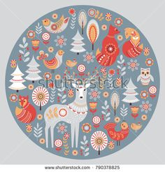 Find Cute Animals Birds Fairy Forest Deer stock images in HD and millions of other royalty-free stock photos, illustrations and vectors in the Shutterstock collection. Folk Art Flowers, Flower Art, Scandinavian Folk Art, Scandinavian Pattern, Bird Tree, Forest Fairy, Animal Coloring Pages, Owl Art, Cute Birds