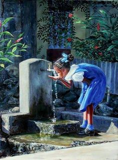Iconic! True iconic Bajan symbol. Young school girl drinking from a standpipe