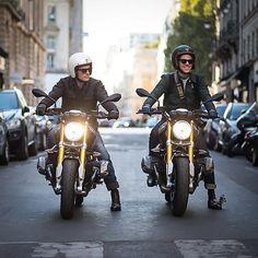 @1000YardStyle and I @BikeStyleStory up to no good during the #ParisFashionWeek.  Photo: @TheOutsiderBlog Motorcycle: @BMWMotorrad_France #RNineT Jackets and shoes: @Berluti Helmets: @HedonWorkshop Gloves: @MaisonFabre Sunglasses: @SkogEyewear Pants: @Helstons  #BMWFashionRide